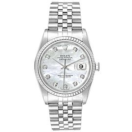 Rolex Datejust Steel White Gold MOP Diamond Mens Watch 16234 Box Papers