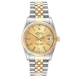 Rolex Datejust Steel 18K Yellow Gold Fluted Bezel Mens Watch 16233