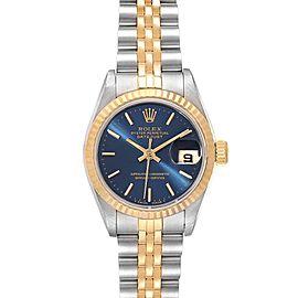 Rolex Datejust Steel Yellow Gold Blue Dial Ladies Watch 69173