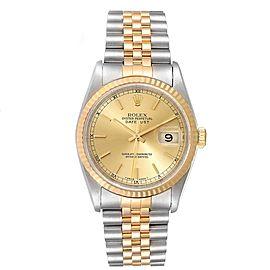 Rolex Datejust 36mm Steel Yellow Gold Fluted Bezel Mens Watch 16233