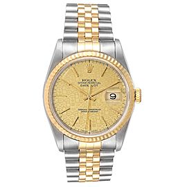 Rolex Datejust 36 Yellow Gold Steel Anniversary Dial Mens Watch 16233