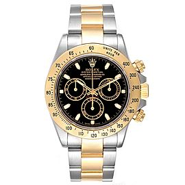 Rolex Daytona Steel Yellow Gold Black Dial Chronograph Mens Watch 116523