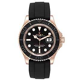 Rolex Yachtmaster 40mm Everose Gold Rubber Strap Watch 116655 Box Card