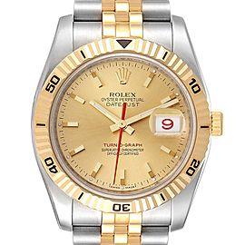 Rolex Datejust Turnograph Steel Yellow Gold Mens Watch 116263 Box Card