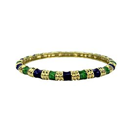 "Tiffany & Co. 18k Yellow Gold Green and Blue Enamel Bangle Bracelet 7.5"""
