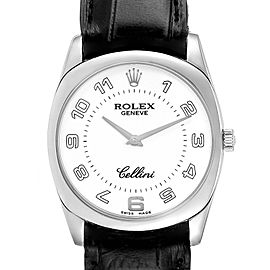 Rolex Cellini Danaos 18K White Gold Black Strap Mens Watch 4233
