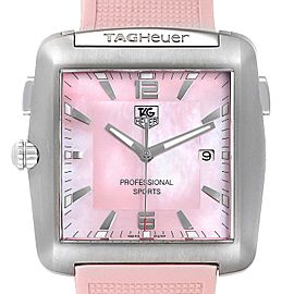 Tag Heuer Monaco Pink Mother of Pearl Rubber Ladies Watch WAE1114