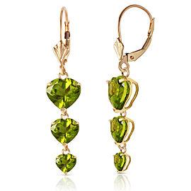 6 CTW 14K Solid Gold Heartthrop Peridot Earrings