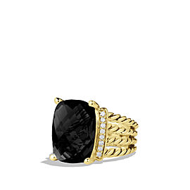 David Yurman Wheaton Ring With Black Onyx and Diamonds In 18k Gold