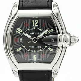 Polished CARTIER Roadstar Steel Leather Automatic Mens Watch W62002V3