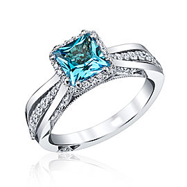 Tacori 18K White Gold Blue Topaz & Diamond Ring Size 6