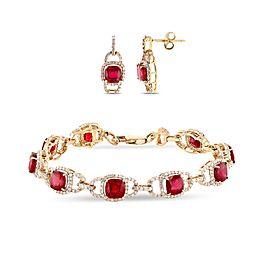 14K Yellow Gold Ruby Diamond Bracelet and Earrings
