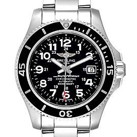 Breitling Superocean II Black Dial Steel Mens Watch A17365 Box Papers