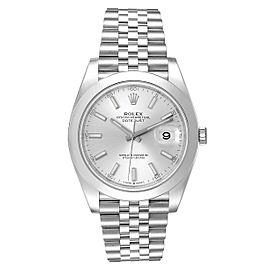 Rolex Datejust 41 Silver Dial Jubilee Bracelet Mens Watch 126300 Unworn