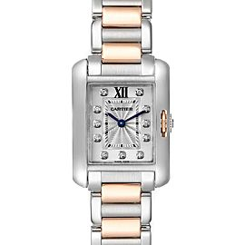 Cartier Tank Anglaise Small Steel 18K Rose Gold Diamond Watch WT100024