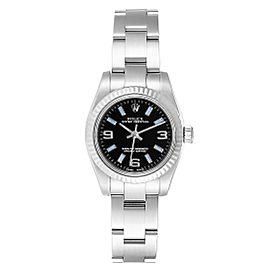 Rolex Nondate Steel White Gold Black Dial Ladies Watch 176234 Box Card