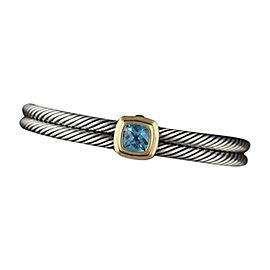 David Yurman Sterling Silver & 18K Yellow Gold Blue Topaz Double Cable Bracelet Cuff