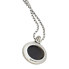 David Yurman Sterling Silver Oval Smoky Quartz Diamond Pendant