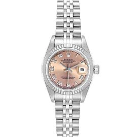 Rolex Datejust Steel White Gold Salmon Dial Ladies Watch 79174 Box Papers
