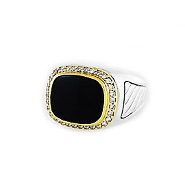 David Yurman 18K Yellow Gold & Sterling Silver Onyx & 0.30ct Diamond Ring