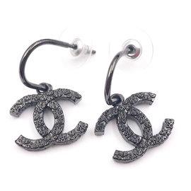 Chanel Gunmetal CC Flower Texture Hoop Piercing Earrings