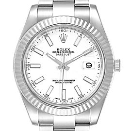 Rolex Datejust II 41mm Steel White Gold Mens Watch 116334 Box Card
