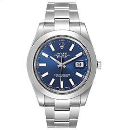 Rolex Datejust II 41mm Blue Baton Dial Steel Mens Watch 116300 Box