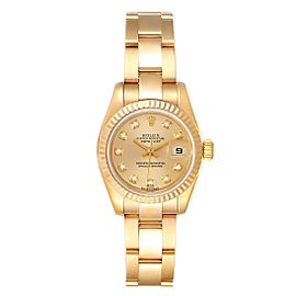 Rolex President Datejust Yellow Gold Diamond Ladies Watch 179178 Box Papers