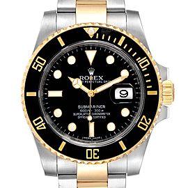 Rolex Submariner Steel Yellow Gold Black Dial Watch 116613 Box Card