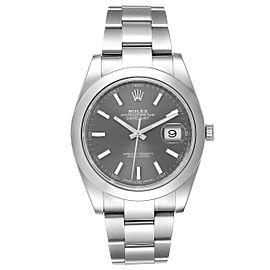 Rolex Datejust 41 Grey Dial Domed Bezel Steel Mens Watch 126300 Unworn
