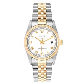 Rolex Datejust 36mm Steel Yellow Gold White Dial Mens Watch 16233