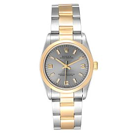 Rolex Midsize 31 Slate Dial Yellow Gold Steel Ladies Watch 77483