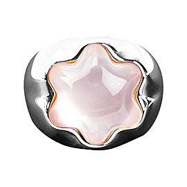 Montblanc Sterling Silver & Pink Quartz Star Grande Dame Ring Sz 8.5