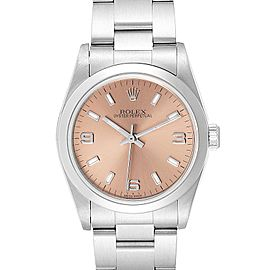 Rolex Midsize Salmon Dial Domed Bezel Steel Ladies Watch 77080