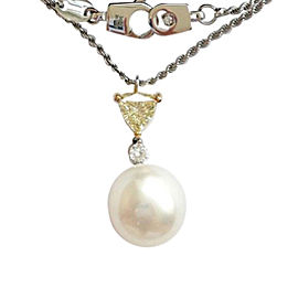 Damiani 18K White & Yellow Gold Diamond Pearl Necklace