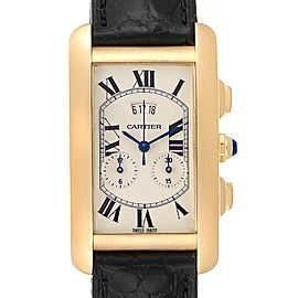 Cartier Tank Americaine Yellow Gold Chronograph Mens Watch 2568
