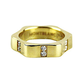 Montblanc 18K Yellow Gold & Diamond Star Ring Size U.S. 6 ; EU 52