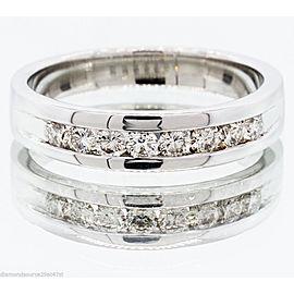 14k White Gold 0.60CT Round Brilliant Diamond Wedding Band Ring 17420