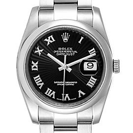 Rolex Datejust Black Sunbeam Dial Oyster Bracelet Steel Mens Watch 116200