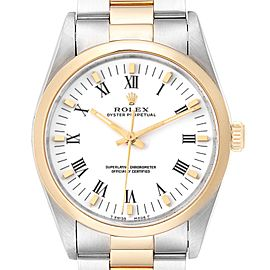 Rolex Oyster Perpetual White Dial Steel Yellow Gold Mens Watch 14203