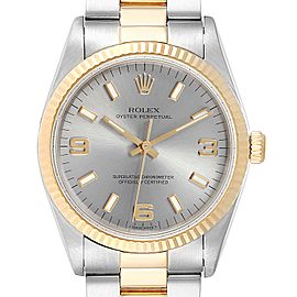 Rolex Oyster Perpetual Steel Yellow Gold Slate Dial Mens Watch 14233