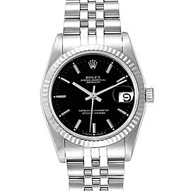 Rolex Datejust Midsize 31 Steel White Gold Black Dial Ladies Watch 68274