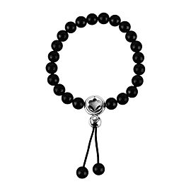 Montblanc Sterling Silver Onyx Beads Spiritual Bracelet