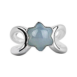 Montblanc Sterling Silver & Blue Chalcedony Silver Star Collection Ring