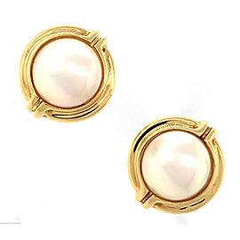 Tiffany & Co. 18K Yellow Gold Pearl Clip-On Earrings