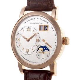 A. Lange & Sohne Grande Lange1 Moonphase YG Brown Leather Strap Mens Watch
