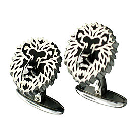 Carrera y Carrera Lion White Gold Cufflinks