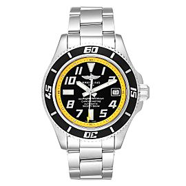 Breitling Superocean 42 Abyss Black Yellow Mens Watch A17364 Box Papers