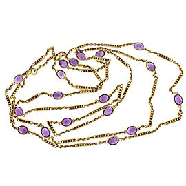 14K Yellow Gold 27ctw Amethyst Chain Necklace