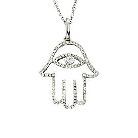 18K White Gold .30ctw Diamond Hamsa Hand of God Pendant Necklace